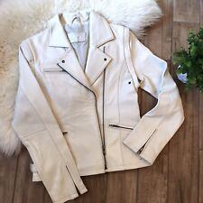 Essential Girls White Real Leather Motorcycle Jacket Vest Combo Biker 14