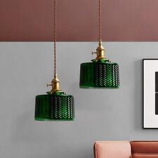 Green Adjustable Glass Pendant Lights Vintage Metal Kitchen Hanging Ceiling Lamp