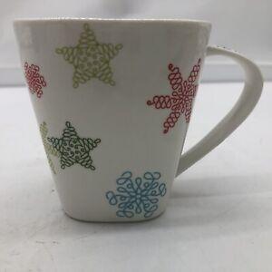 2005 Starbucks Coffee Snowflakes Mug Cup Square Ceramic 10 oz. Holiday Christmas