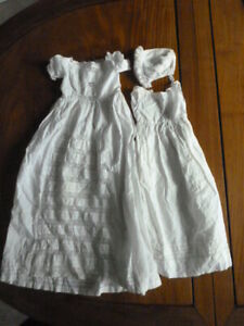 Genuine antique hand made dolls long christening gown, plain petticoat & hat