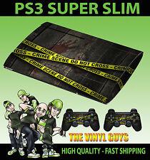 PLAYSTATION PS3 SUPER SLIM Pegatina de piel de cinta de policía de escena del crimen y 2 X pieles Pad