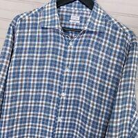 Luciano Barbera 100% Linen L/S Button Shirt Plaid Men's Size L