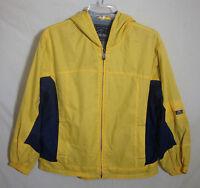 Pacific Trail Nylon Windbreaker Jacket Fleece Lined Yellow Hood Coat Boys Medium