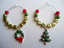 1 Christmas Wine Glass Charm Personalised / Any Name ~Table Decorations