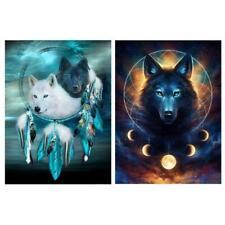 2Pcs Dreamcatcher Wolf DIY 5D Diamond Painting Full Drill Kit Home Decors Gift
