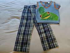 Nick Knack Patty Wack Boys School boutique Outfit with frog sweater New size 4t