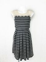 Anthropologie Bordeaux Grey Striped Floral Lace Dress Sleeveless Size Small