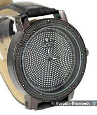 mens diamond giant 60 mm gunmetal hip hop ice out sparkle watch clubbing leather