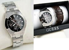 NEW GUESS MEN WATCH SS BRACELET BROWN LEATHER STRAP BOX SET G95424G DAY DATE NWT