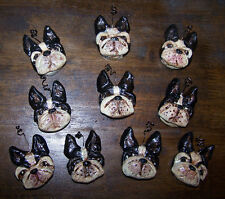Folk Art Bakers Clay Boston Terrier Dog Ornaments  Feather Tree  Miniature