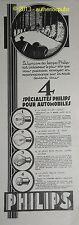 PUBLICITE DE 1928 PHILIPS LAMPE AUTO AMPOULE PHARE DUPLO FRENCH AD VINTAGE