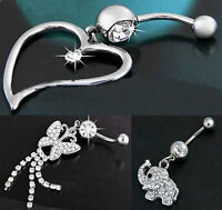 NAVEL BELLY BAR CRYSTAL HEART ELEPHANT OR BUTTERFLY 316L STAINLESS STEEL