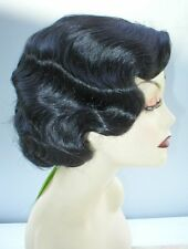 FINGERWAVE QUALITY Theatre WIG. Skin Top. Rose ..  Black 1930's *