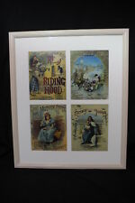 Group of Four Repro Victorian Children's Linen Book Covers; Matted & Framed