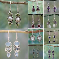 925 Silver Amethyst Moonstone Opal Ruby Topaz Dangle Drop Earrings Hook Jewelry