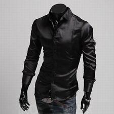 Mens Long Sleeve Casual Shirt Luxury Silk-Like Satin Dress Shirt Tops UK STOCK