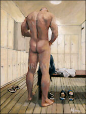 Mann Art NUDE MALE IN LOCKER ROOM Original Oil Painting Gay Interest Beefcake