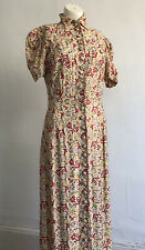 Vintage 1930s 40s Fully Embroidered Silk Floor Length Gown Dress Button Front