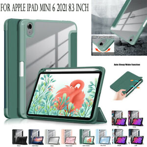 For iPad Mini 6 2021 8.3'' Luxury Clear Back Smart Cover Case with Pencil Holder