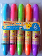 5x Cute Bear Chunky Double End Twin Tip Highlighter Pen Set Stationary UK