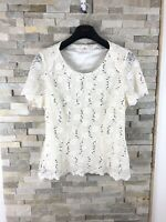 JACQUES VERT Ladies UK 12 Ivory Delicate Lace Sequin Embellished Beige Top