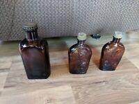 Lot Of 3 Vintage Amber Bottles - 2 1886 Stampede