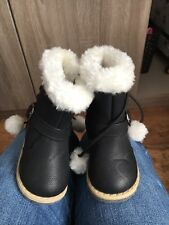 Baby Gifl Black Ugg Australia Boots With White Pom Pom Zip Brand New