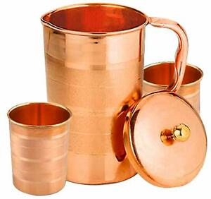 Pure 100% Copper Handmade Water Jug Pitcher With 2 Pc Glass Tumbler For Health