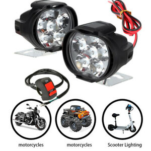 2x Motorcycle Waterproof 12LED Headlight Light Driving Fog Spot Lamp & Button
