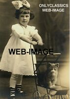 1908 CUTE LITTLE GIRL DRESS BOW CAT KITTEN RIDING STROLLER 5X7 PHOTO VICTORIAN