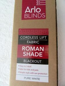 ARLO BLINDS-Pure White-Blackout Roman Shade-Cordless Lift Fabric-30.5x72