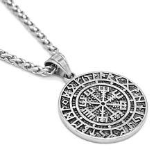Edelstahl Anhänger Vegvisir + Zopfkette Set Wikinger Kompass Amulett Runen