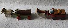 2 Miniaturgespann Seiffen um 1920 Miniaturgespanne Erzgebirge Holzwagen farbig