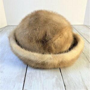 """Vintage Mr. Henri New York Mink Fur Hat Light Brown 20.5"""""""