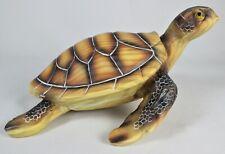 Green Sea Turtle Faux Wood Carving Figure Statue Ocean Wildlife Tortoise Reptile