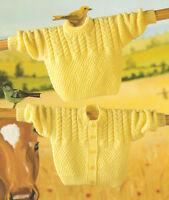 "Baby Cable/Moss Stitch Cardigan & Sweater 16 - 22""  Knitting Pattern"