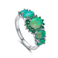 Women Green Fire Opal & Emerald Jewelry Charm Lady Gems Silver Ring Jewelry