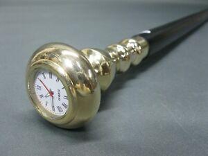 Edelholz  Gehstock Messing Griff 98 cm Spazierstock mit Uhr  Walking Stick