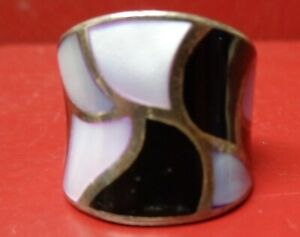 GORGEOUS STERLING SILVER RING W/INLAYS SIZE 6 – #4