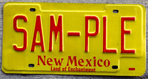 Red on Yellow New Mexico SAMPLE License Plate
