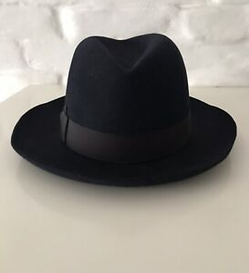 BORSALINO ALESSANDRIA Men's Felt Fedora Hat Blue Size 59(7 1/4)!