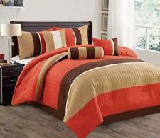 7 Piece Modern Microfiber Bedding Comforter Sets with Pillows, Cal King, Orange