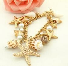 Jewelry fashion Betsey Johnson Pearl golden chain starfish shell Bracelets women