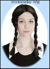 BLACK PLAITS WIG Wednesday Addams HALLOWEEN School Girl GOTH Pippy COSTUME Party