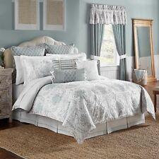 Croscill Eleyana 4-Pc. Queen Embroidered Comforter Set Ivory/Seafoam Blue - New