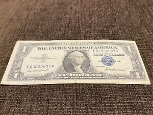 $1 1957 Silver Certificate Low serial number Fancy E 00000607 A