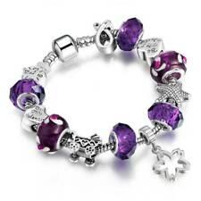 European Silver Plated Bracelet Charm Murano Glass Beads Women Handmade Jewelry