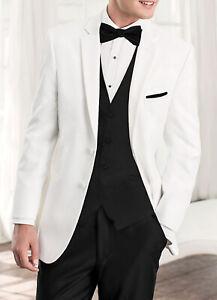 Men's White Tuxedo Jacket Two Button with Satin Notch Lapels Wedding Mason Prom