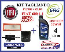KIT TAGLIANDO OLIO MOTORE ERG 10W40 + FILTRI FIAT 600 SEICENTO 1.1 --->09/2000