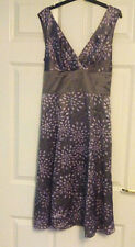 Ted Baker Purple Floral 100% Silk Sleeveless Party Occasion Dress Size 2 UK 10